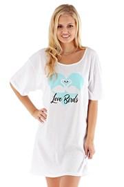 Ženska spalna srajca Love Birds, bela