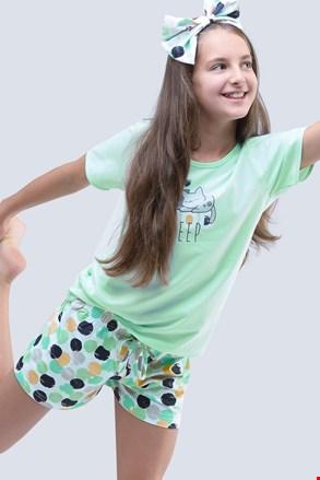 Dekliška poletna pižama Cats Aqua