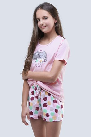 Dekliška poletna pižama Cats roza