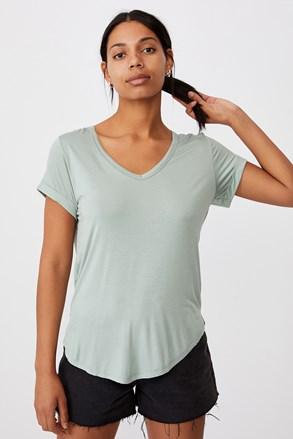Svetlozelena ženska basic majica s kratkimi rokavi Karly