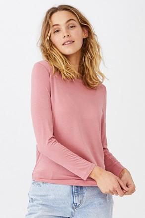 Ženska basic majica z dolgimi rokavi Kathleen roza