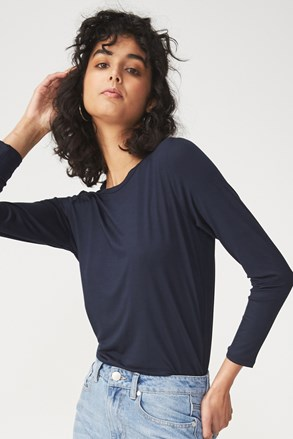 Basic ženska majica z dolgimi rokavi Kathleen, modra
