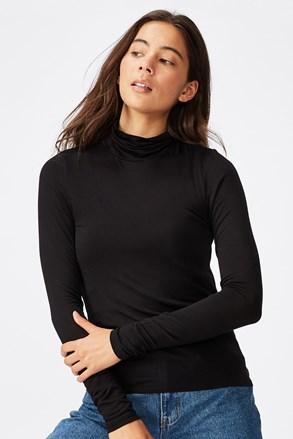 Ženska črna majica z dolgimi rokavi