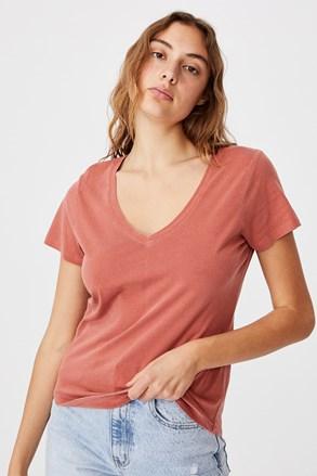 Ženska opečna basic majica s kratkimi rokavi One