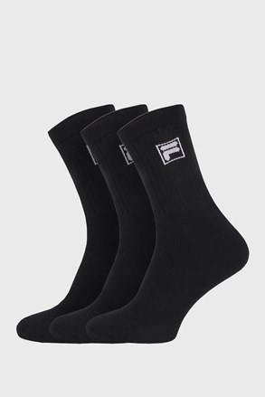Trojno pakiranje črnih visokih nogavic z logotipom FILA
