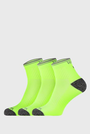 Trojno pakiranje športnih nogavic Ray, neonsko rumene barve