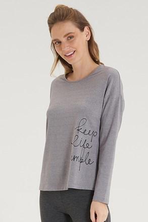 Ženska siva majica z dolgimi rokavi
