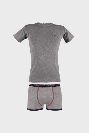 Siv komplet deške boksarice in majica
