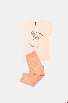 Oranžna dekliška pižama Save planet