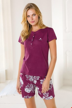 Ženska kratka bordo pižama