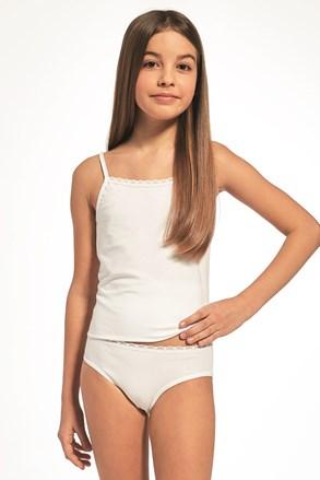 Komplet dekliške majice brez rokavov in hlačk, bel