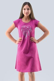 Dekliška roza spalna srajca Hearts