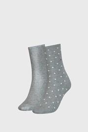2 PACK ženske nogavice Tommy Hilfiger Dot Grey