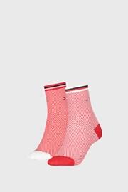 2 PACK ženske nogavice Tommy Hilfiger Honeycomb Red