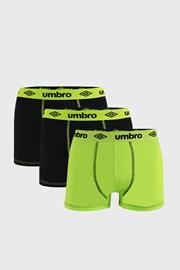 3 PACK črno-zelenih boksaric Umbro BIO