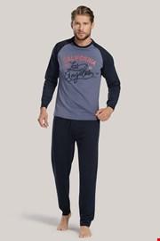 Modra moška pižama z napisom