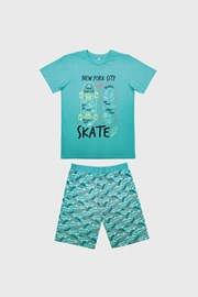 Svetlomodra deška pižama Skate