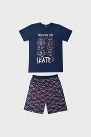 Temnomodra deška pižama Skate