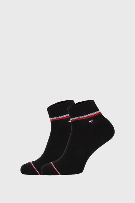 2 PACK črne kratke nogavice Tommy Hilfiger Iconic