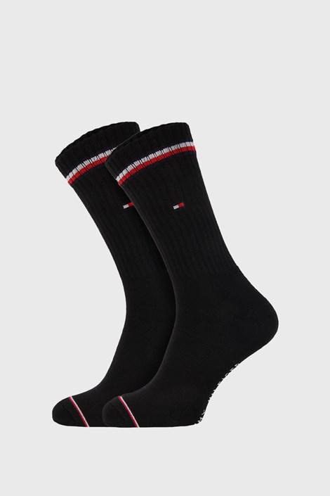 2 PACK črne visoke nogavice Tommy Hilfiger Iconic