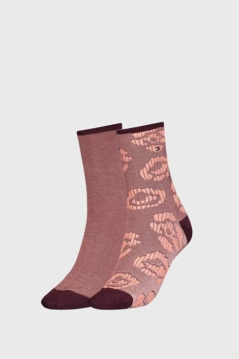 2 PACK ženskih rjavih nogavic Tommy Hilfiger Flower