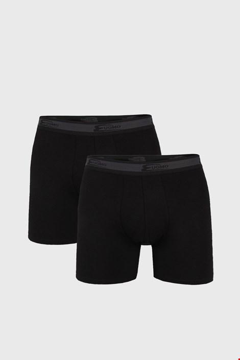 2 PACK črne dolge boksarice UOMO