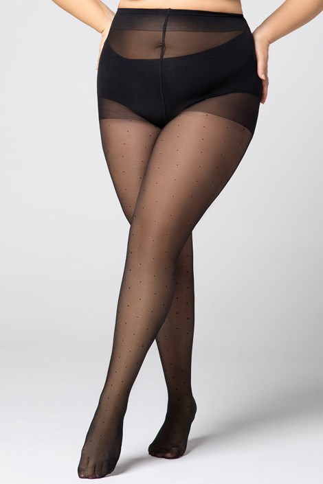 Hlačne nogavice Plus Size Dots 30 DEN