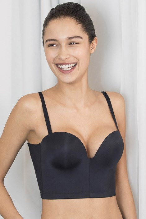 Modrček Wonderbra Ultimate Backless Push-Up, črn